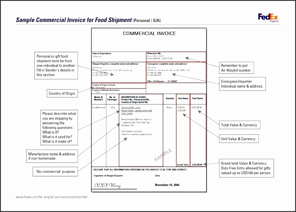 fedex proforma invoice template mercial invoice template form word doc international document fedex proforma invoice sample