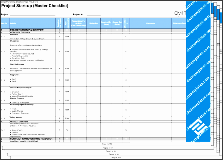project start up master checklist xls