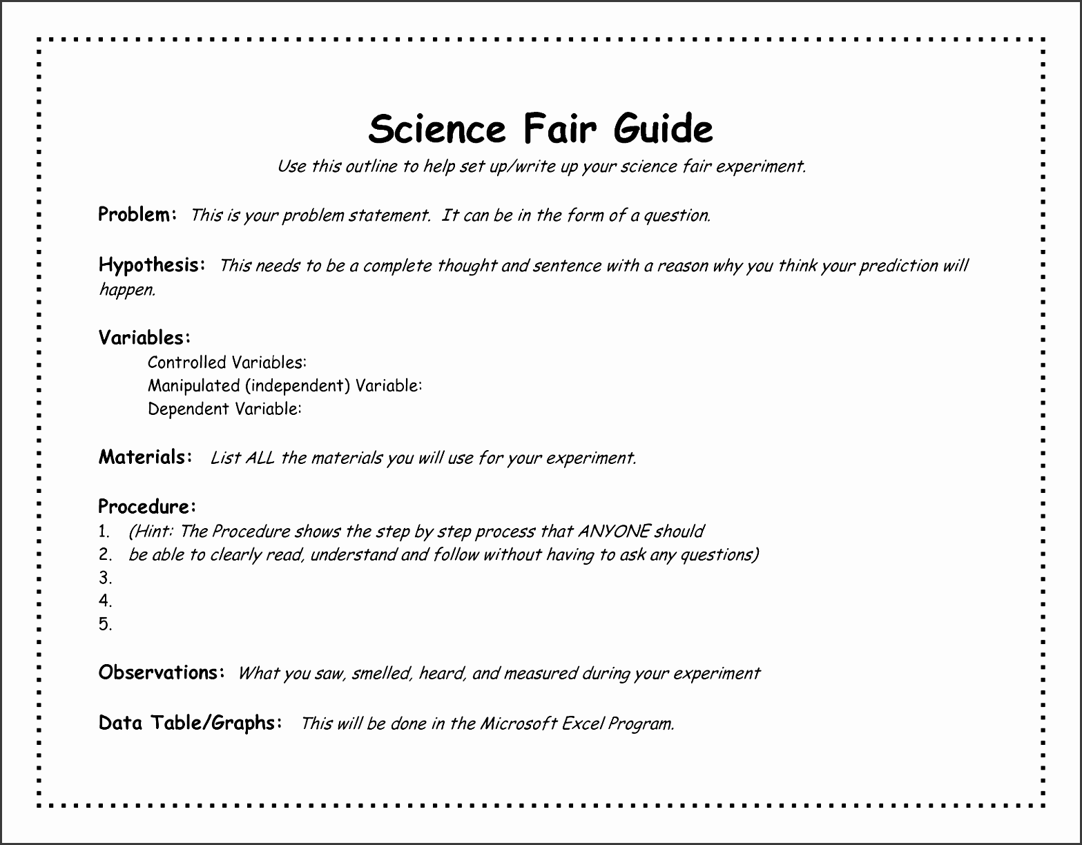 science fair project outline template academic outreach incredible templates