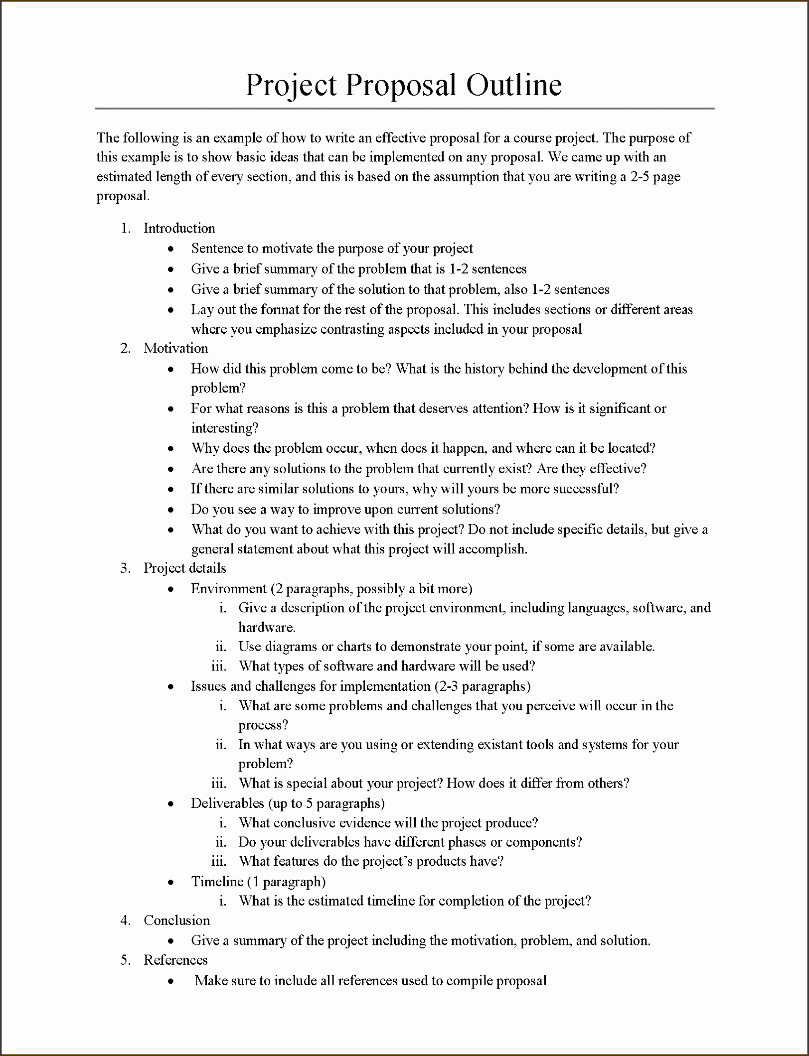 project outline template word
