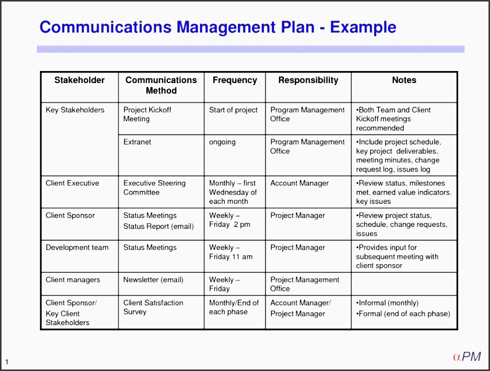 10 project team communication planner layout for Client management plan template