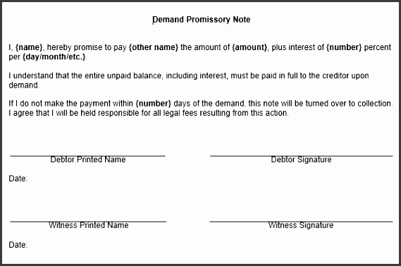 here to this free sample demand promissory note form template