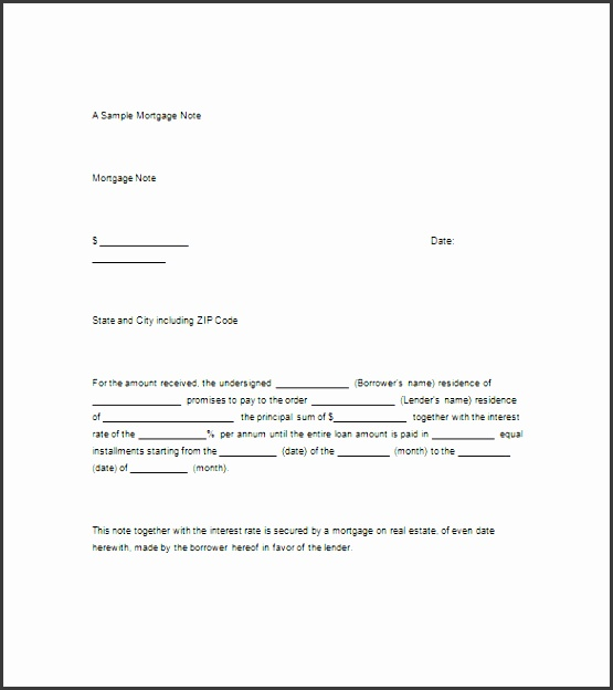 Free Mortgage Promissory Note Template  Mortgage Note Template