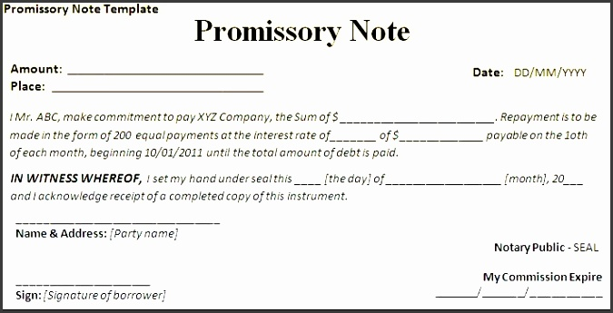 7 promissory note form template sampletemplatess for Iou letter template