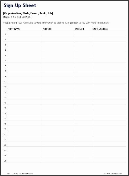 10 prospect sign up sheet template