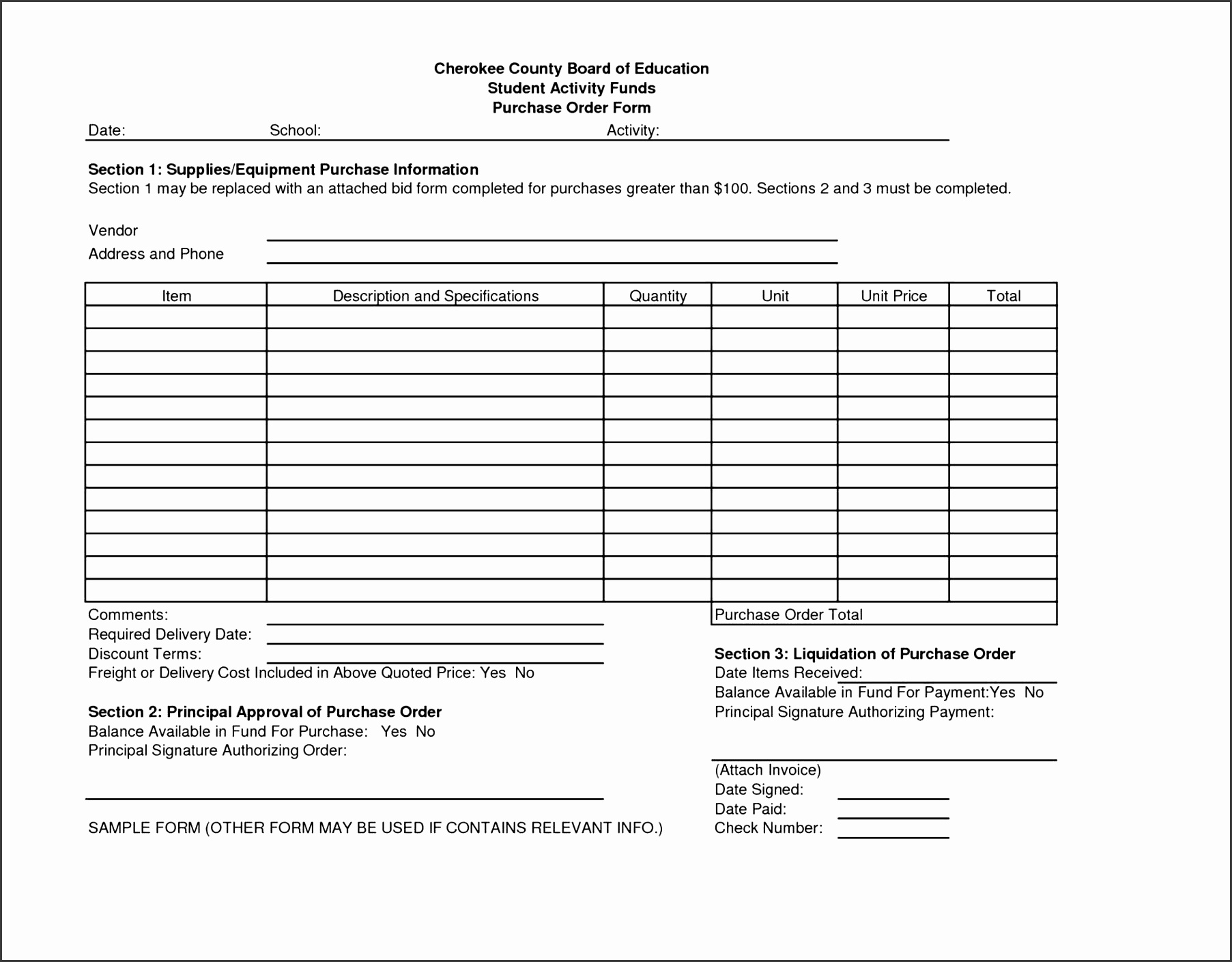 5 Purchase order Template Free Of Cost - SampleTemplatess ...