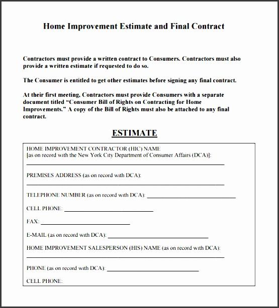 sample contractor estimate template pdf