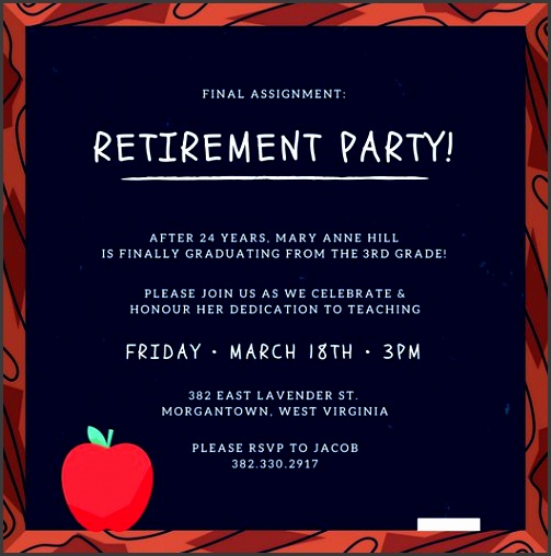 blackboard retirement party invitation