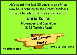 great outdoors retirement party invitations