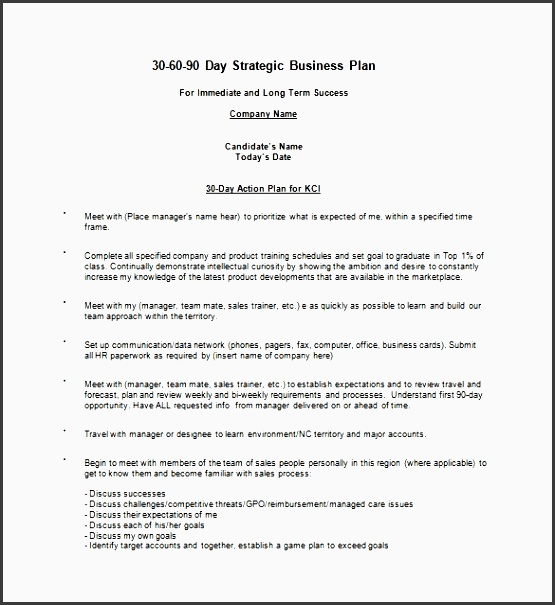 20 30 60 90 day action plan template free sample example pertaining to
