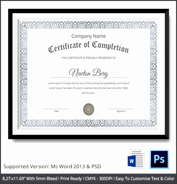 simple training pletion certificate template