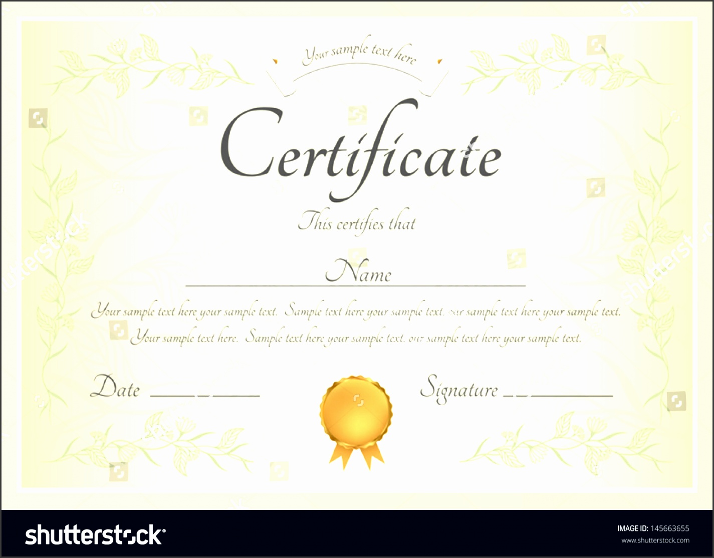 certificate of pletion template or sample background with floral pattern green frame and
