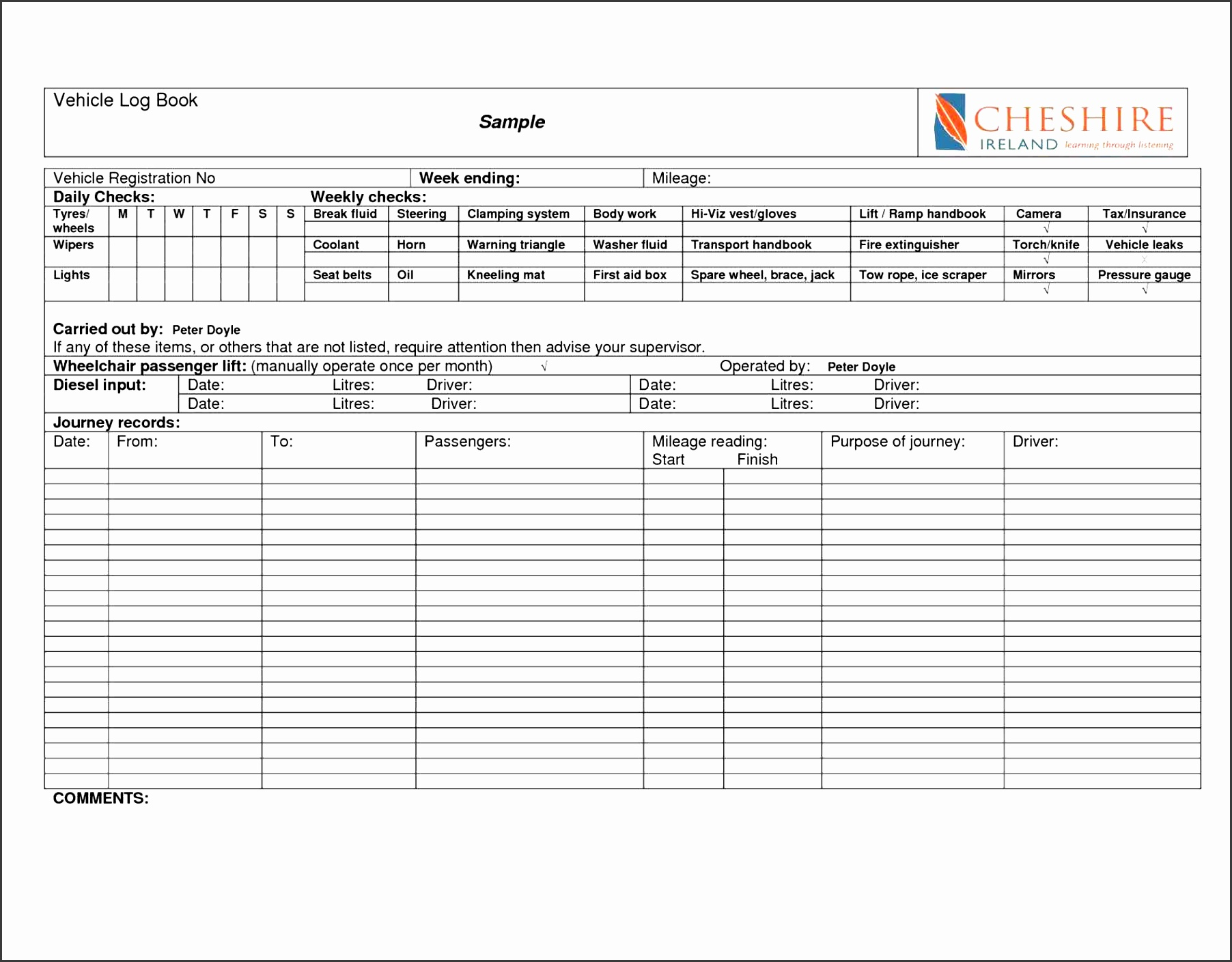 6 sample vehicle mileage log sampletemplatess for Truckers log book template