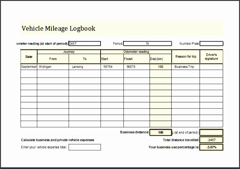 vehicle mileage log book