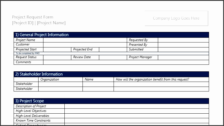project request form template