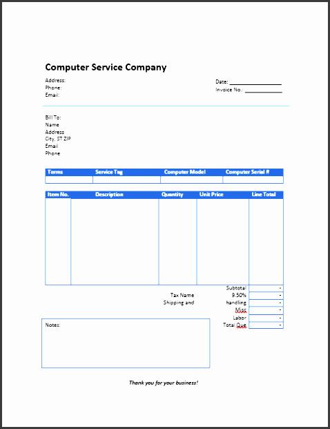 puter service invoice template