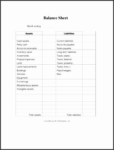 church balance sheet template