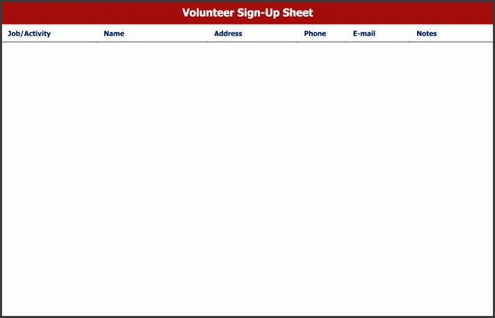 volunteer signup sheet template