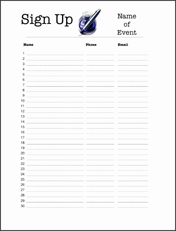 sports sign up sheet