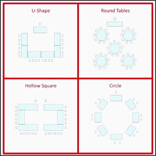 top left u shape top right round tables bottom left