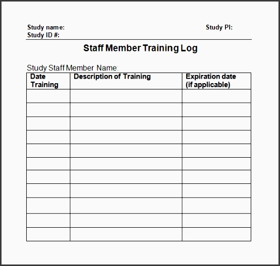 training log template in word