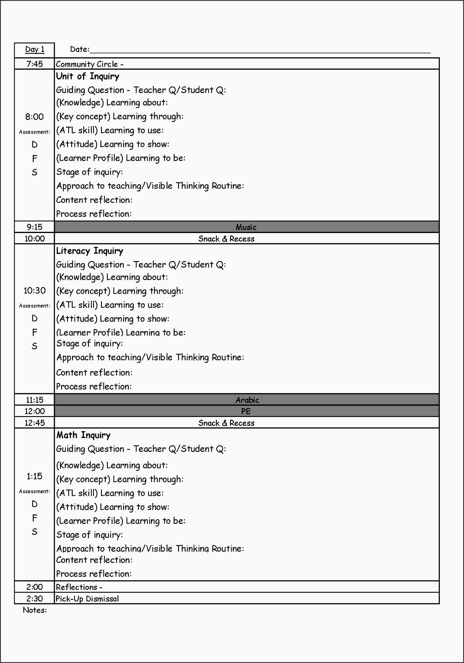 pyp day plan template