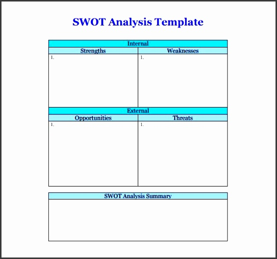 blank swot analysis template pdf