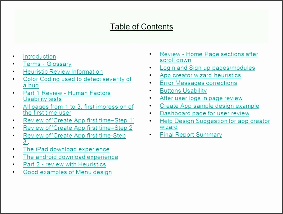 table of contents review home page sections after scroll down
