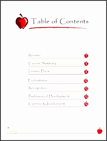teacher portfolio table of contents