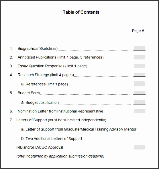 professional table of contents template