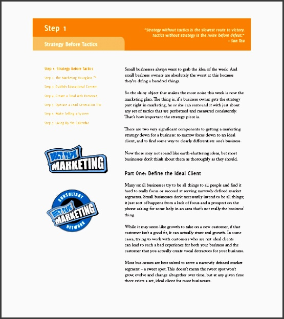 Tactical Marketing Plan Template Idealstalist
