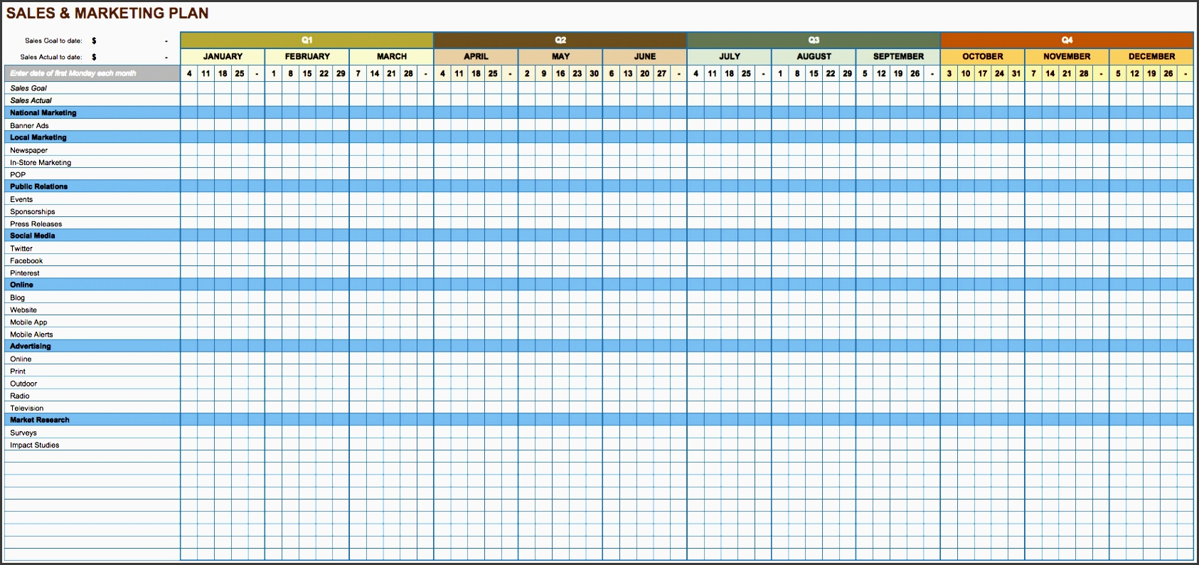 this sales and marketing plan template facilitates planning around sales goals and promotional activities this is an annual calendar template with all 12