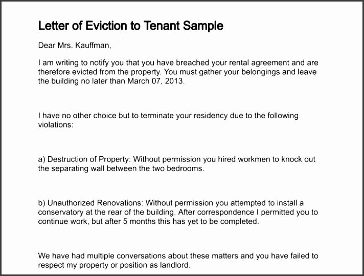 letter of eviction to tenant sample 239 1