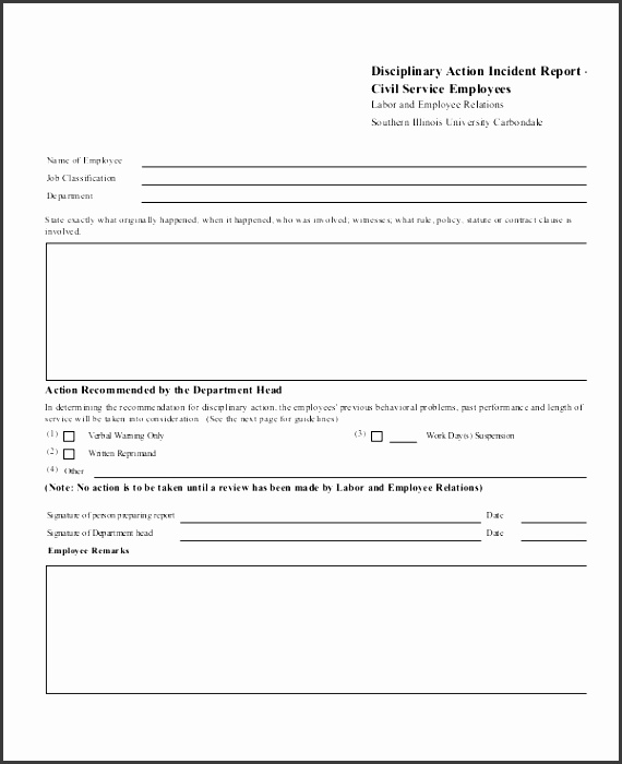 disciplinary action incident report template