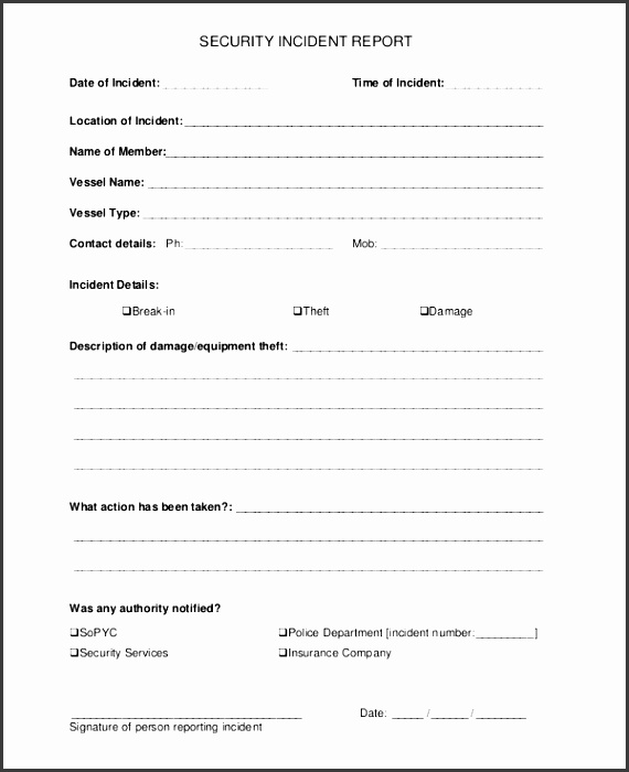 10 theft incident report template