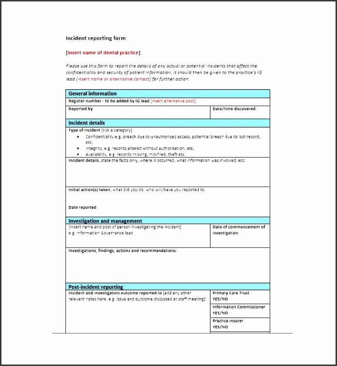 printable incident report template 31