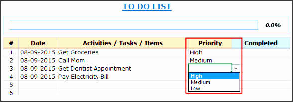 excel to do list template priority double click