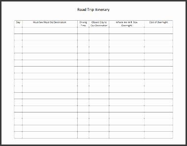 5 Tour Itinerary Template Sampletemplatess