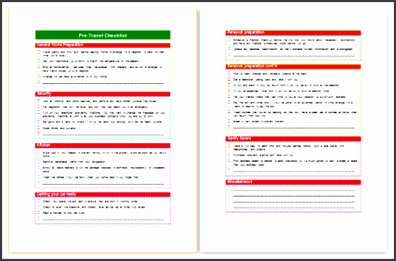 travel packing checklist template word