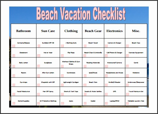 free beach vacation checklist template pdf format
