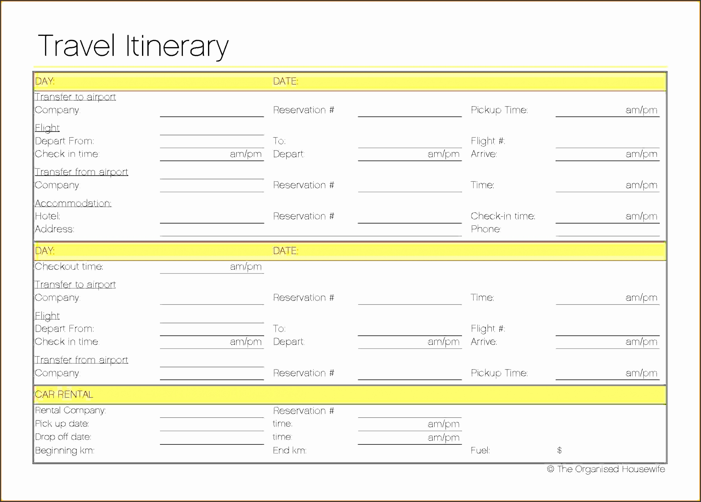 Travel Itinerary Template Vacation Itinerary Template