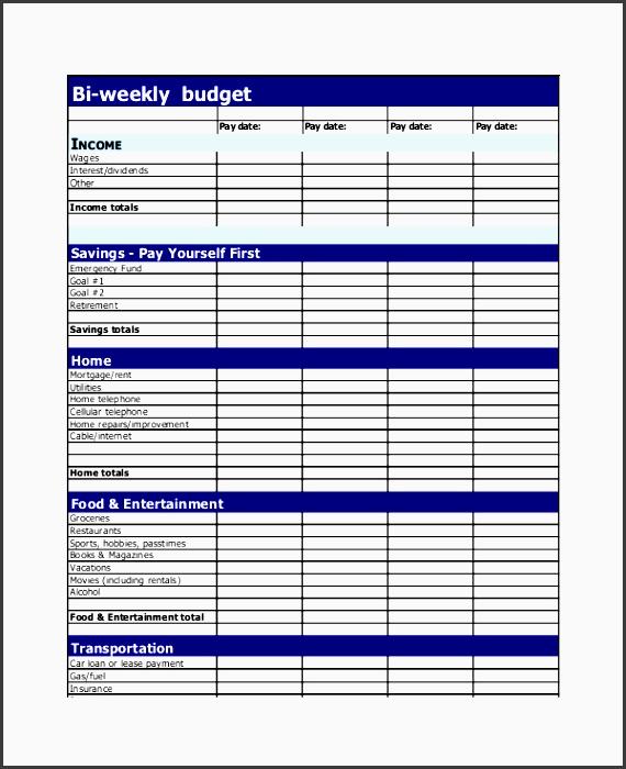 bi weekly bud planner template