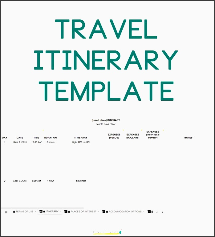 how to plan a trip free travel itinerary template