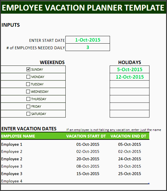 inputs needed for employee vacation planner template