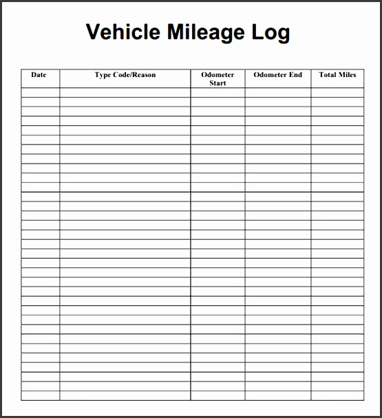 11 vehicle mileage log example