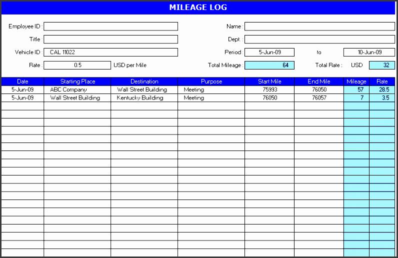 4  vehicle mileage log template in pdf