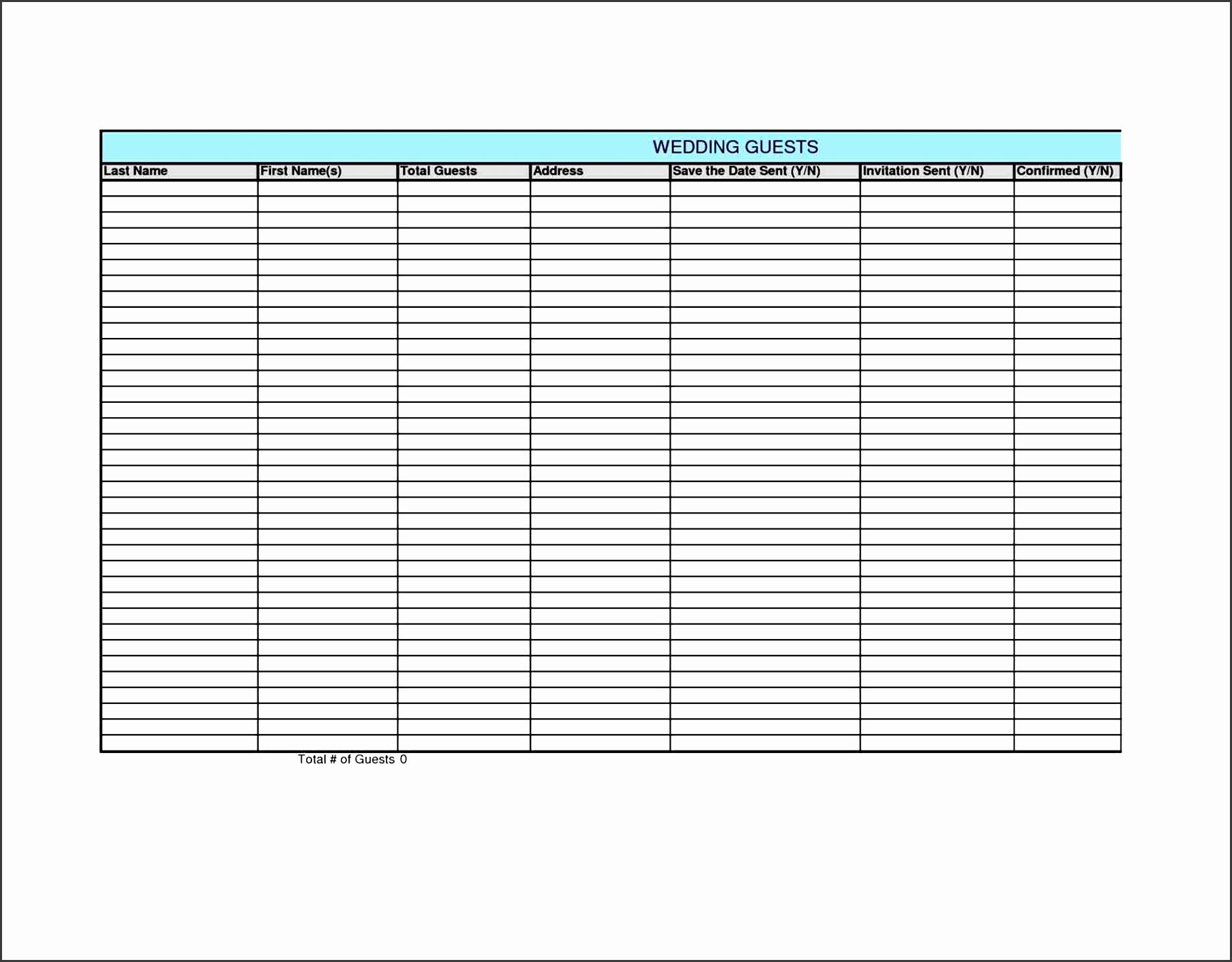 wedding guest list template excel sample guest list wedding guest list template 6