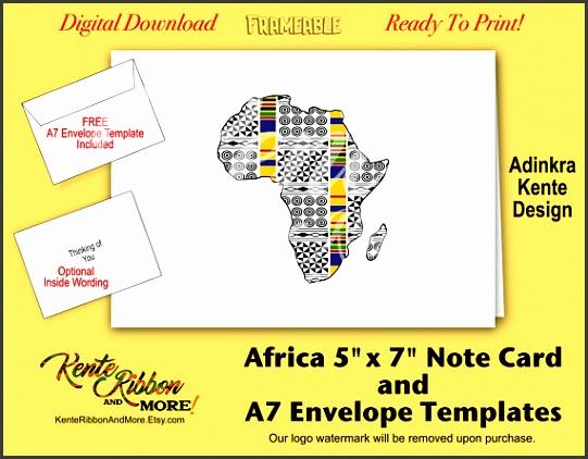 DIY Africa 5x7 Note Card Template Adinkra Kente Design ZIP File Download Optional Inside Wording Free A7 Envelope Template