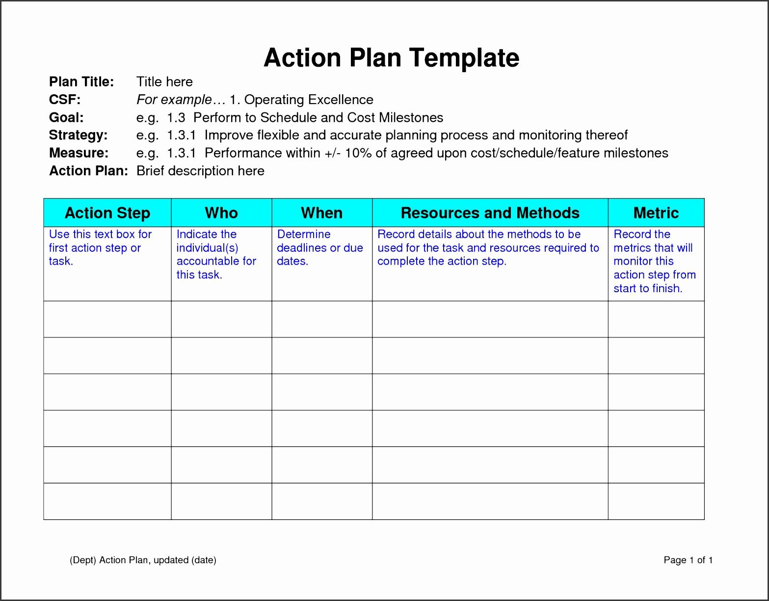 6 action planning template - sampletemplatess