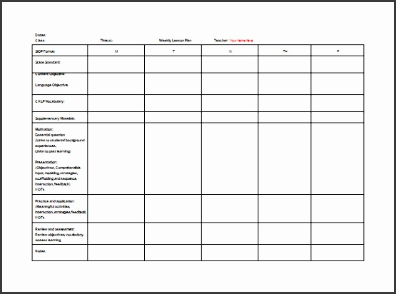 Teacher Weekly Lesson Plan Free Word Template